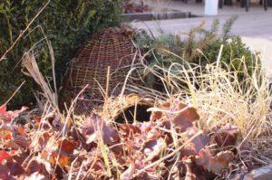 domek dla jeża warto nieco schować wśród krzewów w ściółce