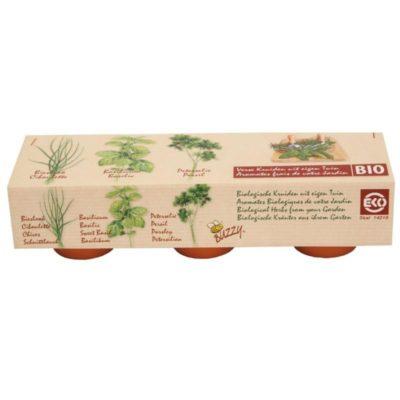 zioła BIO zestaw do samodzielnej uprawy w domu i na balkonie 3 doniczki ceramiczne, nasiona i krążki sprasowanego podłoża