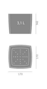 Doniczka Square Marble 170 wymiary