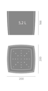 Doniczka Square Marble 200 wymiary