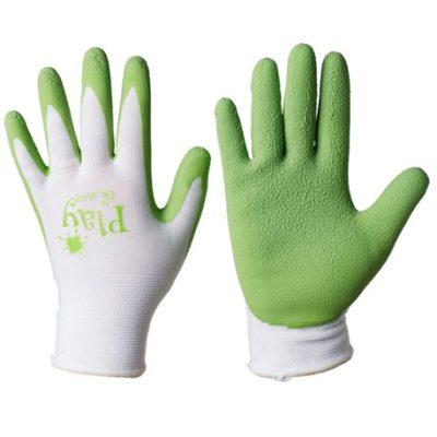 Rękawice ogrodnicze dla dzieci przedszkolnych bawełniane z lateksem, zielone.