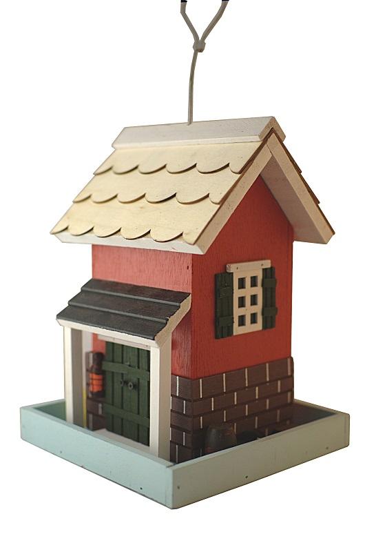 karmnik domek czerwony Semini z drewna
