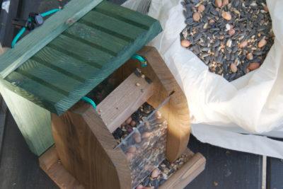 Nasypywanie ziarna do karmnika z zasobnikiem