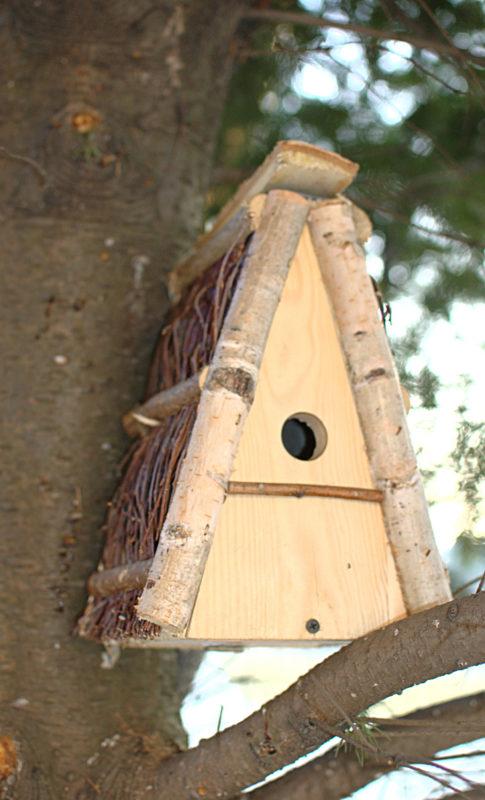 W ogrodzie budka lęgowa dla małych ptaków sikorek z brzozowego drewna trójkątna polska produkcja ręcznie wykonana