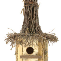 brzozowa naturalna budka lęgowa okrągła ręcznie wykonana z daszkiem z chrustu polska produkcja