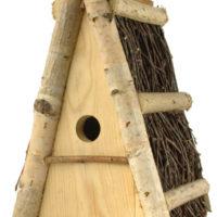 budka lęgowa trójkątna dla małych ptaków sikorek z brzozowego drewna trójkątna polska produkcja ręcznie wykonana