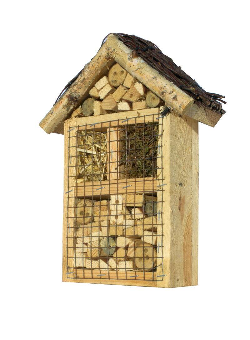 Hotel dla owadów pożytecznych z brzozowym daszkiem