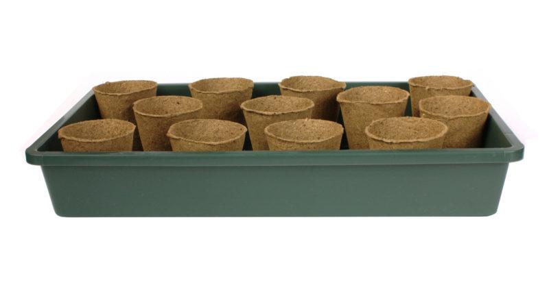 doniczki biodegradowalne torfowe w kuwecie do miniszklarenki z wywietrznikami