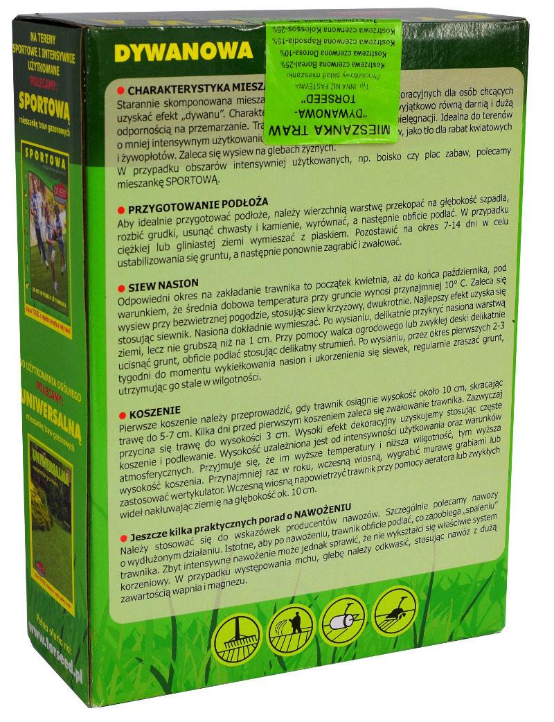 Mieszanka nasion traw Dywanowa do ozdobnych trawników skład etykieta