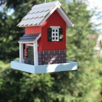 Karmnik Czerwony Domek z zasobnikiem dla dzikich ptaków