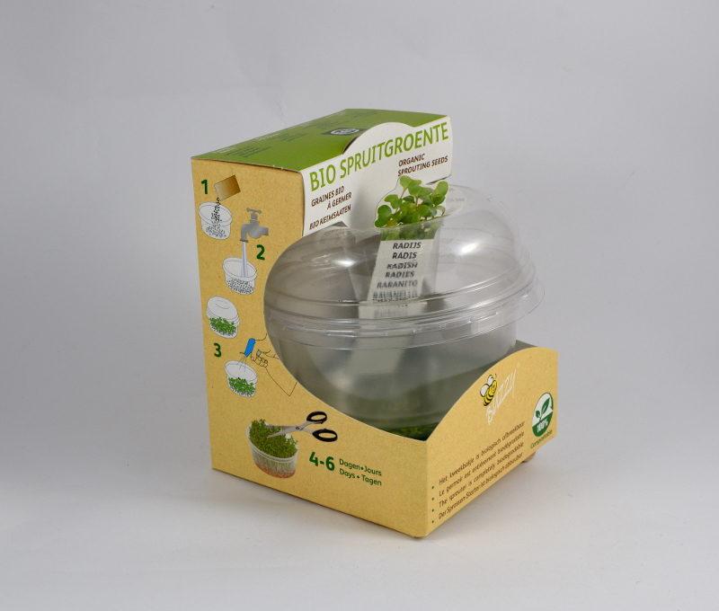 Kiełkownica biodegradowalna w opakowaniu: zestaw naczynie z tworzywa i 2 opakowania nasion rzodkiewki