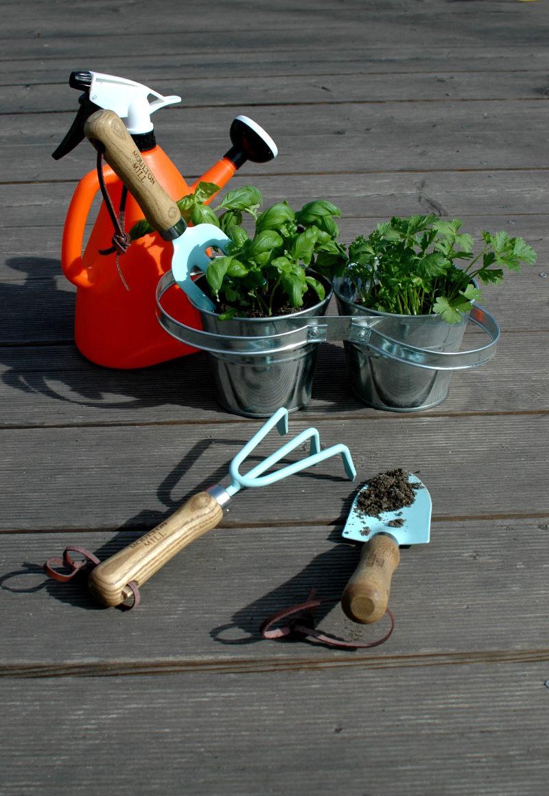 Podwójne zioła, niebieskie pazurki, łopatka i konewka