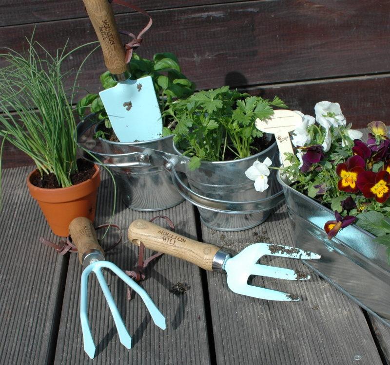 prezenty dla ogrodników ręczne narzędzia ogrodnicze niebieskie angielskie