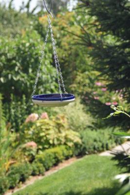 Poidełko dla ptaków na tle ogrodu