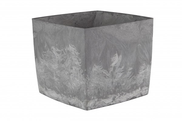Doniczka Square Marble 150 pojemność 2,1l kolor popiel, tworzywo z recyklingu, oryginalna powierzchnia marmurkowe smugi