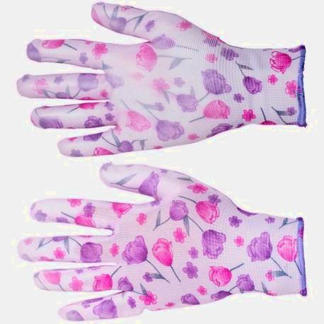 Rękawice ogrodowe w kwiatki z powłoką poliamidową