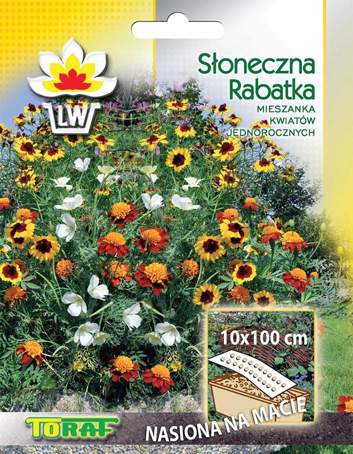 Słoneczna rabatka mieszanka kwiatów jednorocznych na macie, kolory słoneczne