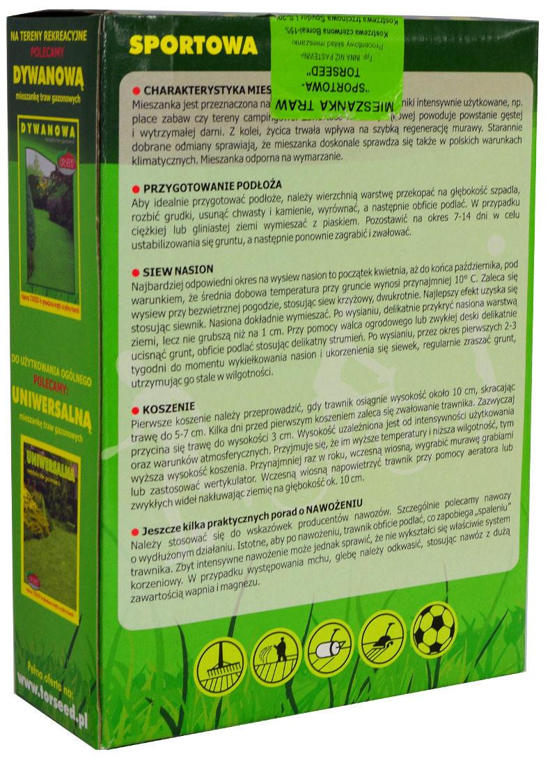 Mieszanka nasion traw Sportowa Wiechlina łąkowa Evora przeznaczona na boiska skład etykieta