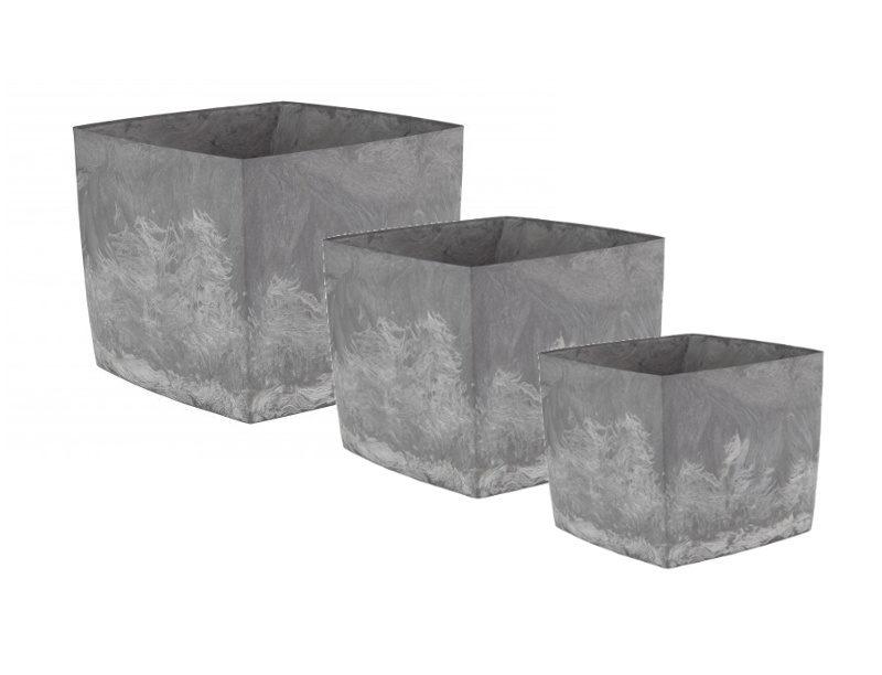 doniczki square marble zestaw 3 sztuki w różnych wielkościach