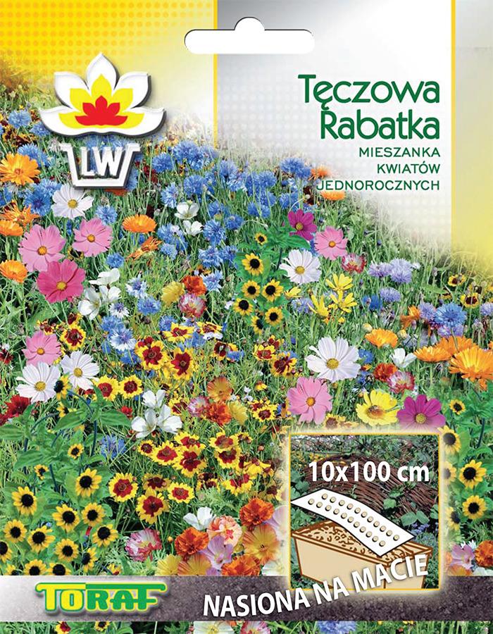 Tęczowa rabatka mieszanka nasion kwiatów na macie