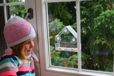 Karmnik na szybę daje możliwość obserwacji ptaków bardzo blisko. To dobry sposób na to, jak dokarmiać ptaki z dziećmi