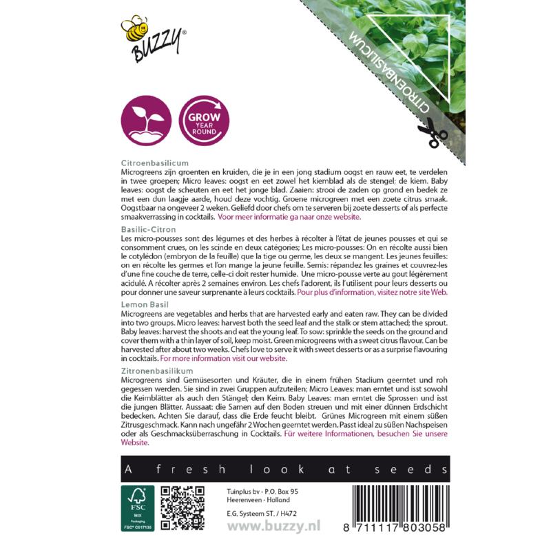 Nasiona bazylii na mikroliście etykieta