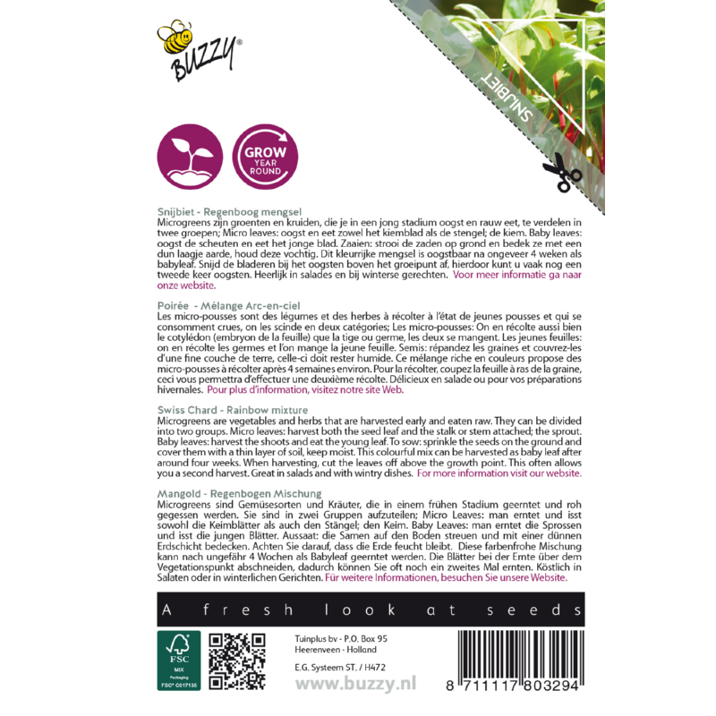 Nasiona buraka na mikroliście etykieta