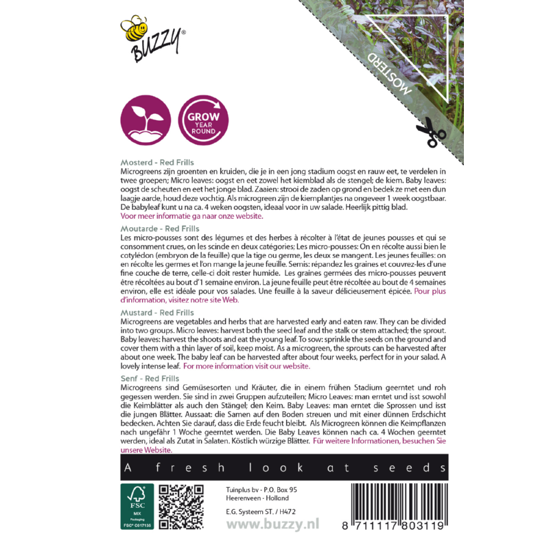 Nasiona gorczycy na mikroliście etykieta