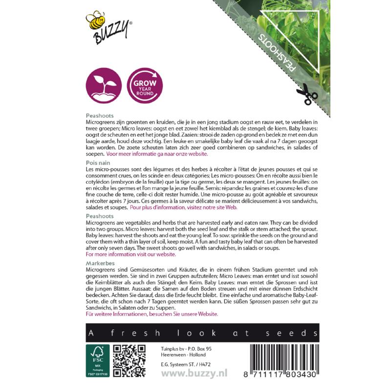 Nasiona grochu na mikroliście etykieta