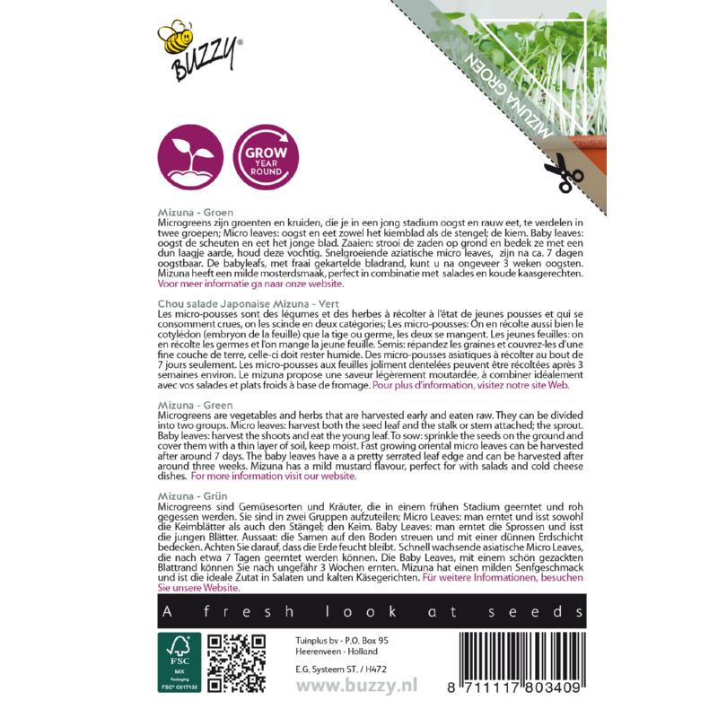 Nasiona mizuny na mikroliście etykieta