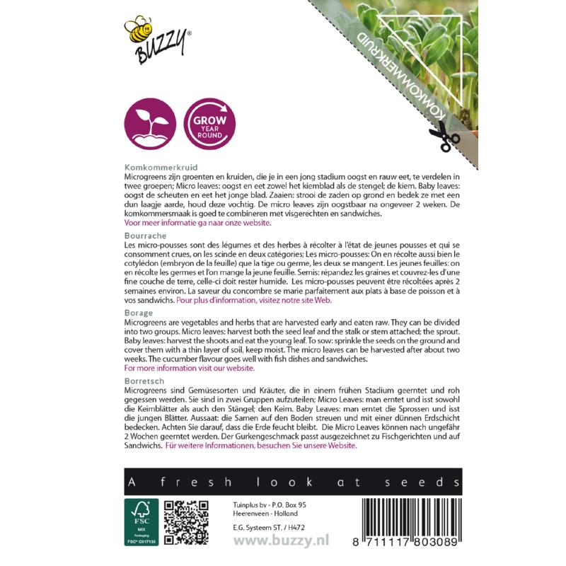 Nasiona ogórecznika na mikroliście etykieta