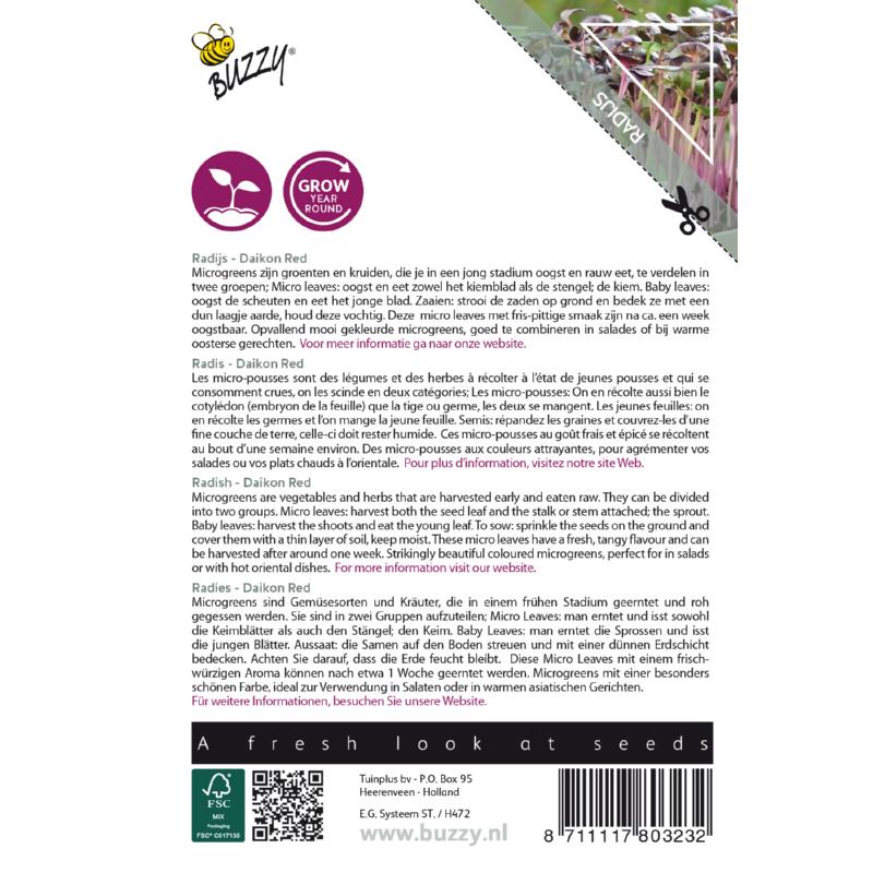 Nasiona rzodkiewki na mikroliście etykita