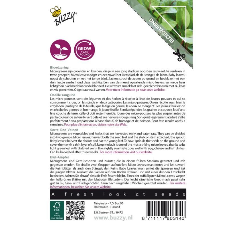 Nasiona szczawiu na mikroliście etykieta