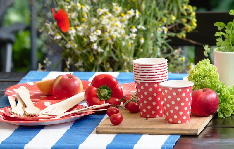 Papierowe naczynia i drewniane sztućce