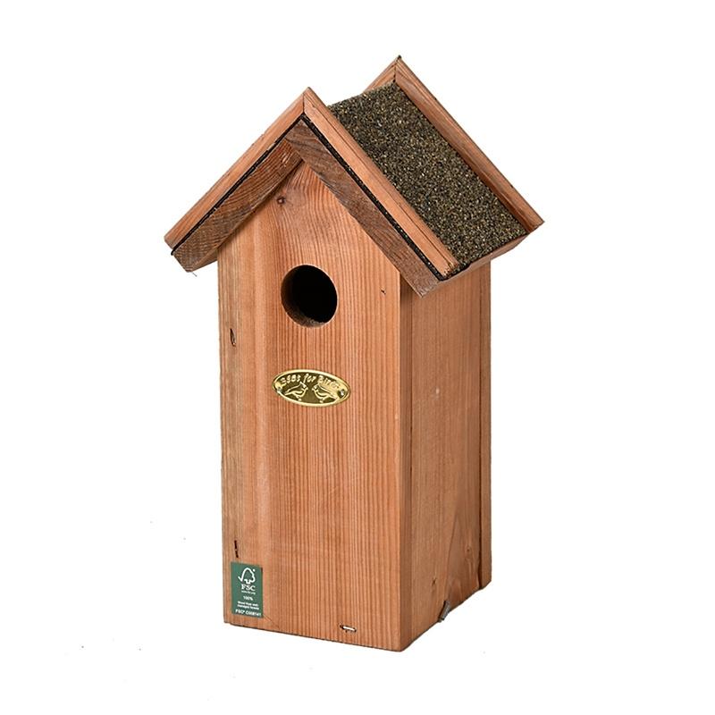 Budka dla ptaków z daszkiem z papy otwieralna
