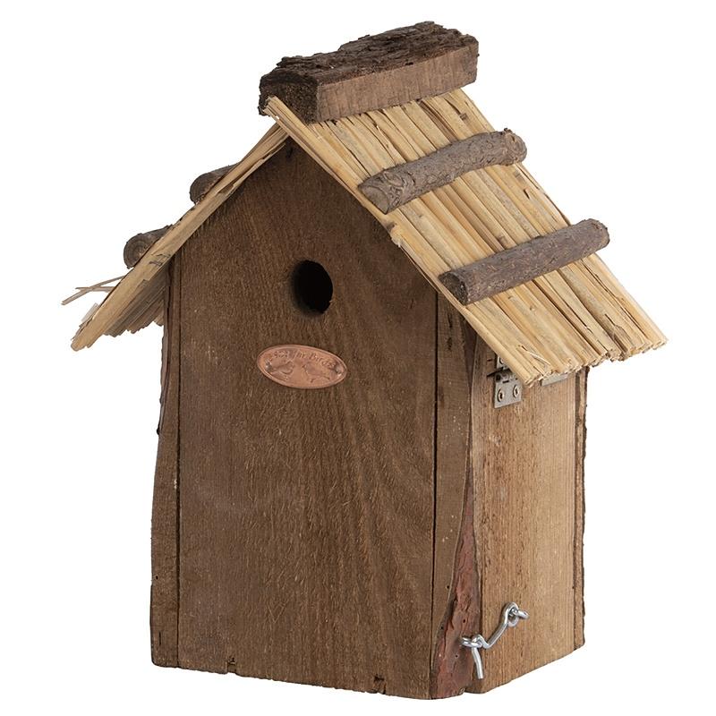 Domek dla ptaków z dachem ze słomy