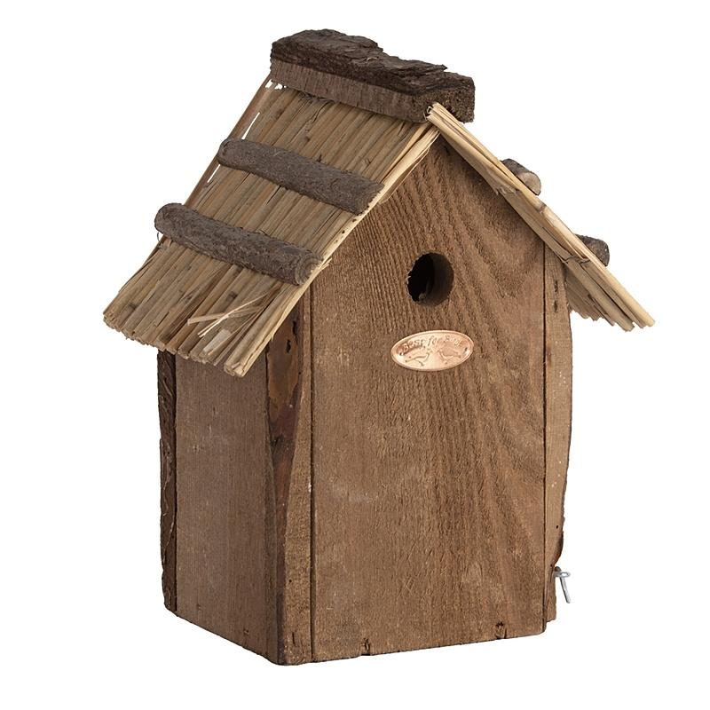 Domek dla ptaków z dachem ze słomy 4