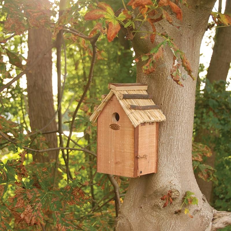 Domek dla ptaków z dachem ze słomy 2