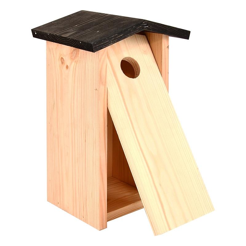 Budka dla ptaków z drewna świerkowego z czarnym daszkiem 1
