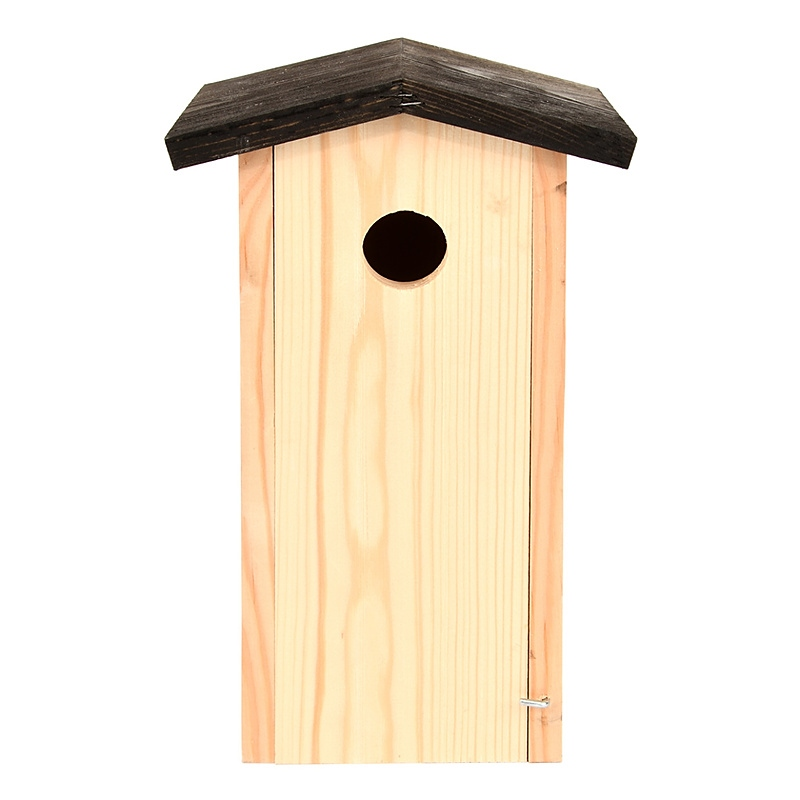 Budka dla ptaków z drewna świerkowego z czarnym daszkiem 2
