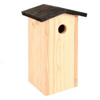 Budka dla ptaków z drewna świerkowego z czarnym daszkiem