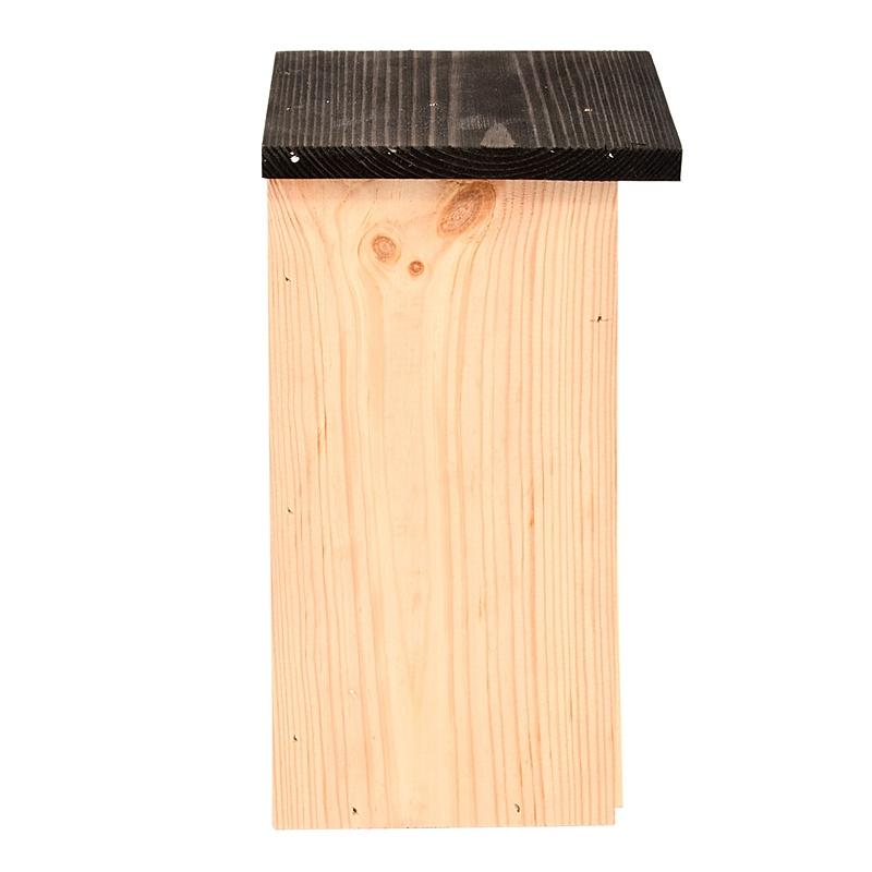 Budka dla ptaków z drewna świerkowego z czarnym daszkiem 3